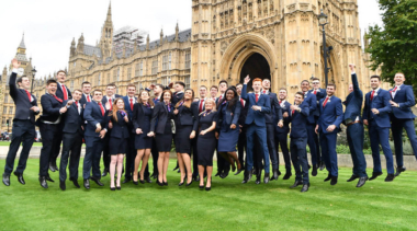 TeamUK in front of the Houses of Parliament