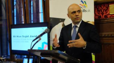 Sajid Javid presenting