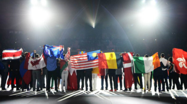 people holding flags from many countries