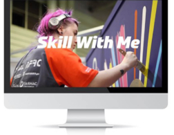 skill with me banner on a desktop computer