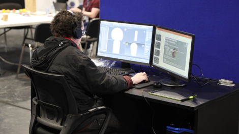 Young person competing in 3D Digital Game Art competition