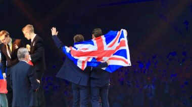 Photo of Team UK celebrating in Budapest 2018