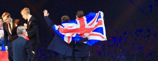 Photo of Team UK celebrating in Budapest 2018