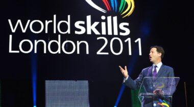 Photo of Nick Clegg on stage at WorldSkills London 2011