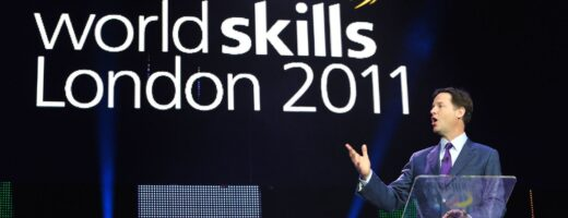 Photo of Nick Clegg on stage at WorldSkills London 2011