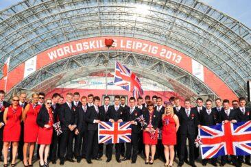 Photo of Team UK competitors group shout at WorldSkills Leipzig 2013