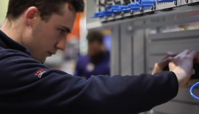 Young person competing in Automation competition