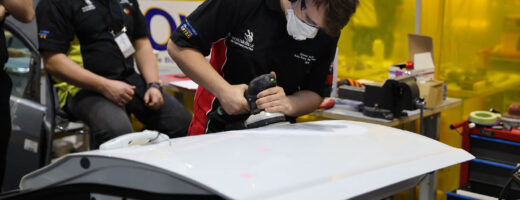 Young person competing in Automotive Body Refinishing competition
