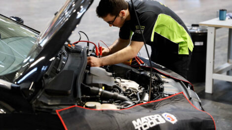 Young person competing in Automotive Technology competition