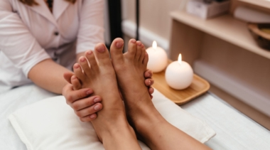 Photo of a beauty therapist giving a foot massage