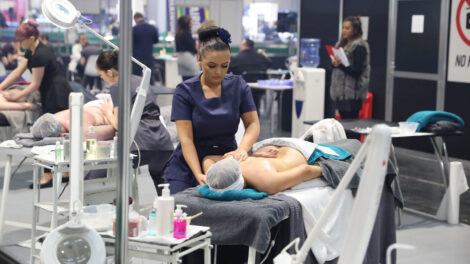 Young people competing in Beauty Therapy Practitioner competition