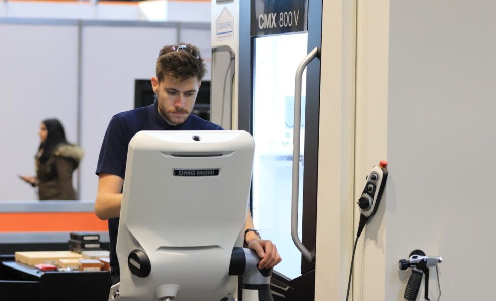 Young person competing in CNC Milling competition