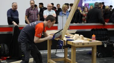 Young person competing in Cabinet Making competition