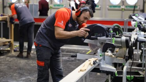 Young person competing in Carpentry competition