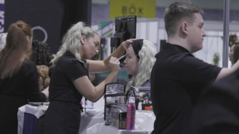 Young people competing in Commercial Make Up competition