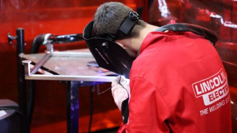 Young person competing in Construction Metalwork competition
