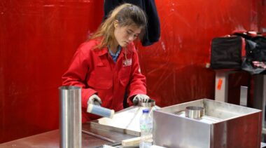 Young person competing in Sheet Metalwork competition