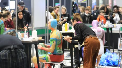 Young person competing in Creative Media Makeup competition