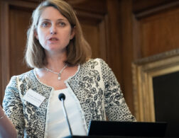Photo of Dr Susan Relly speaking at the launch of the SKOPE report