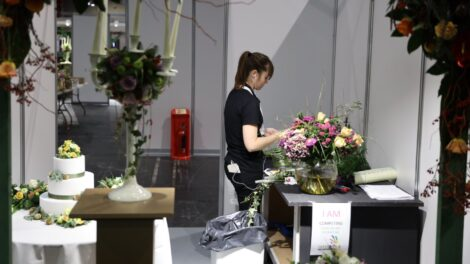 Young person competing in Floristry competition