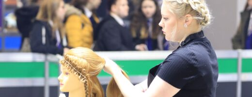 Young person competing in Hairdressing competition