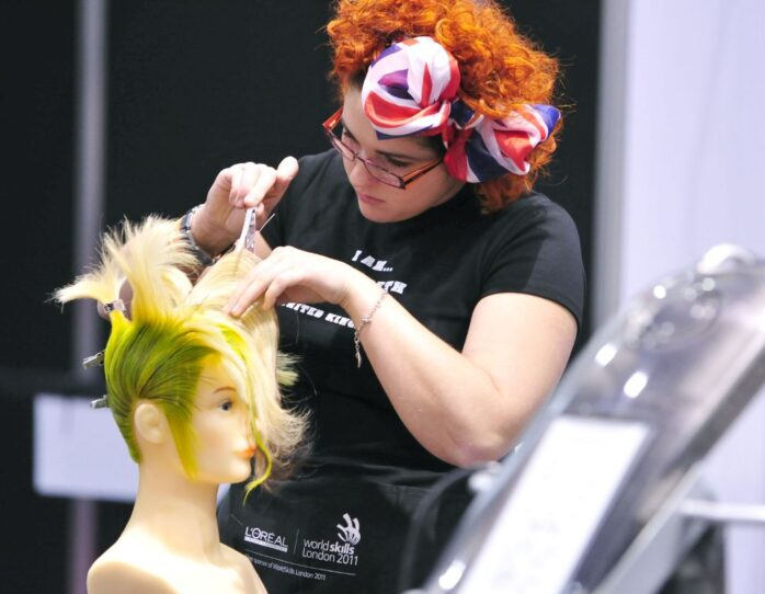 Photo of competitor in hairdressing WorldSkills London 2011