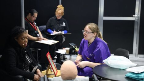 Young person competing in Health & Social Care competition
