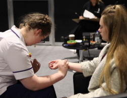Young person competing in Health and Social Care competition