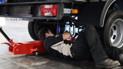 Young person competing in Heavy Vehicle Technology competition