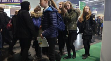 young people queueing at worldskills uk live
