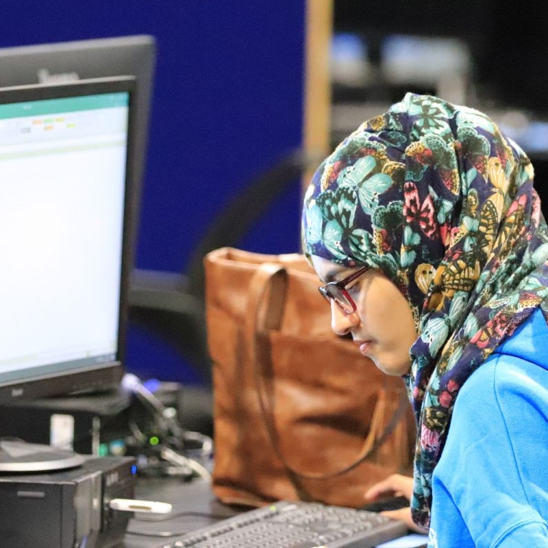Photo of young person competing from New College Durham in IT SOlutions for Business Foundation Skills competition