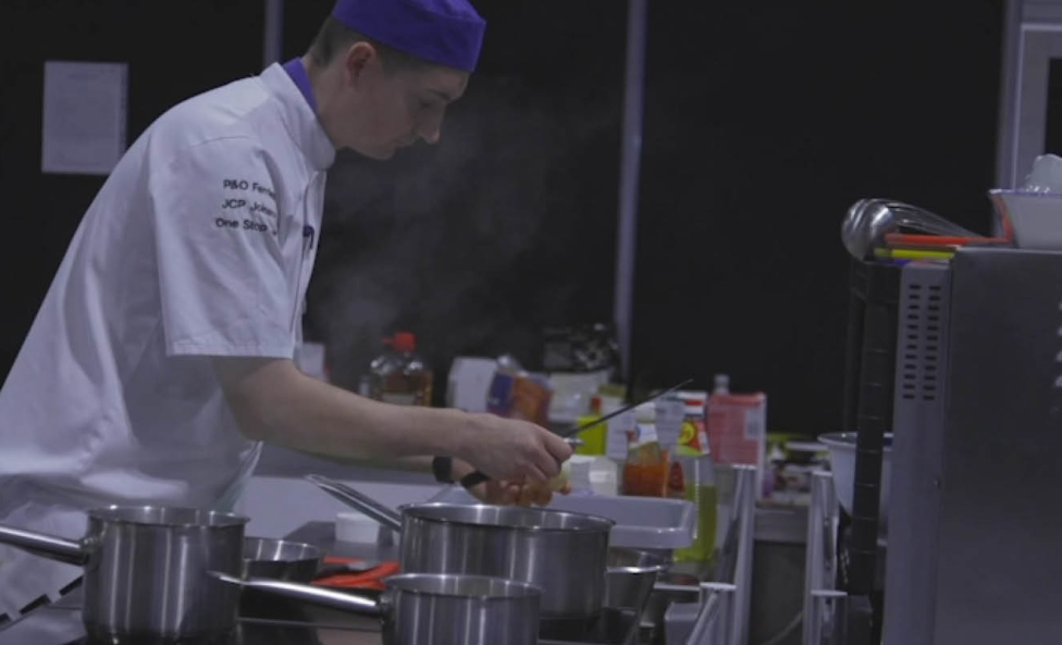 Young person competing in foundation skills Catering competition