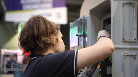 Young person competing in Industrial Control competition