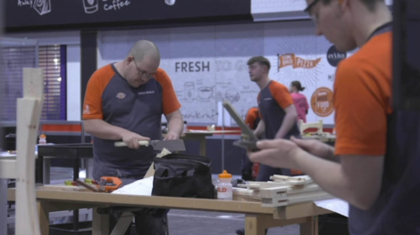 Young person competing in Joinery competition