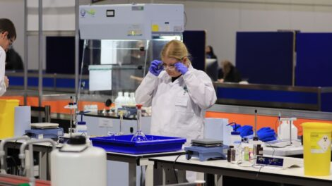 Young people competing in Laboratory Technician competition