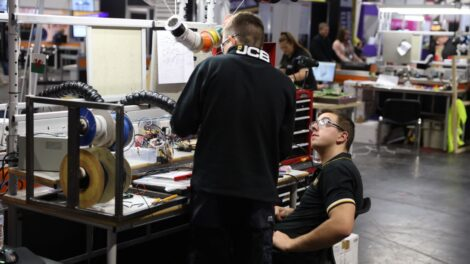 Young person competing in Manufacturing Team Challenge competition