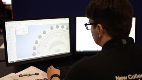 Young person competing in Mechanical Engineering CAD competition
