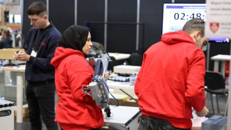 Young people competing in Mechatronics competition