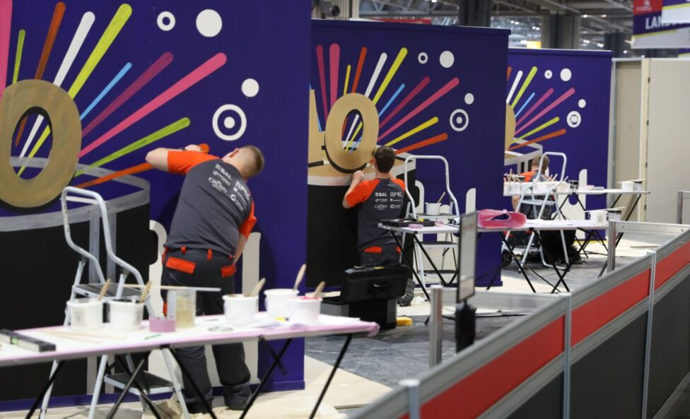 Young people competing in Painting and Decorating competition