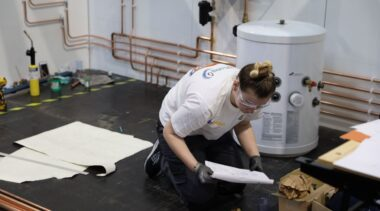 Young person competing in Plumbing competition