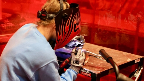 Young person in competing Sheet Metalwork Technology competition