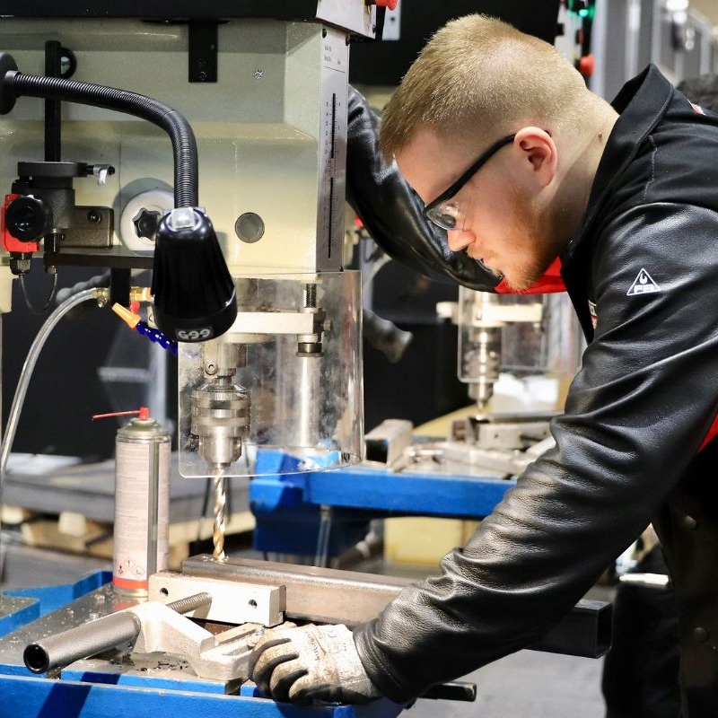 Young person competing in Sheet Metalwork Technology competition