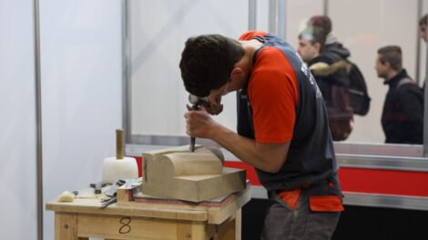 Young person competing in Stonemasonry competition