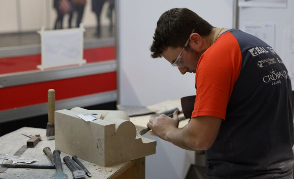 Young person competing in Stonemasonry competition jpg