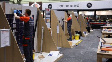 Young people competing in Wall and Floor Tiling competition