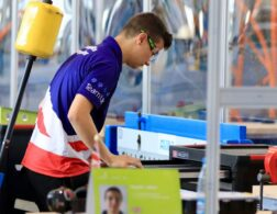 Photo of Haydn competing internationally in the Aircraft Maintenance Competition