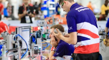 Photo of Jack and Danny competing internationally in the Mechatronics Competition
