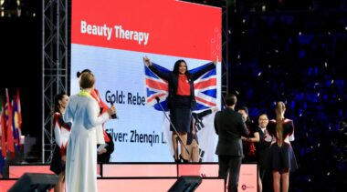 Photo of Rebecca winning Gold in the Beauty Therapy Competition