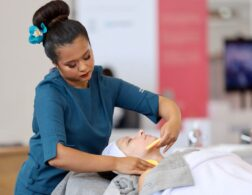 Photo of Rebecca competing internationally in the Beauty Therapy Competition