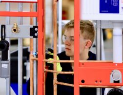 Photo of Thomas competing internationally in the Plumbing and Heating competition